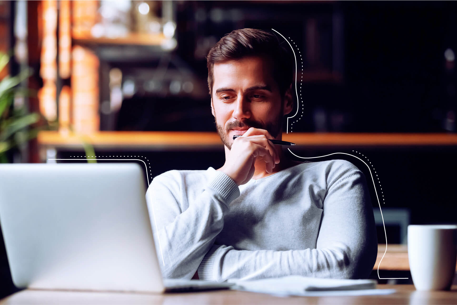 Man sitting thoughtfully in front of laptop | eggheads.net