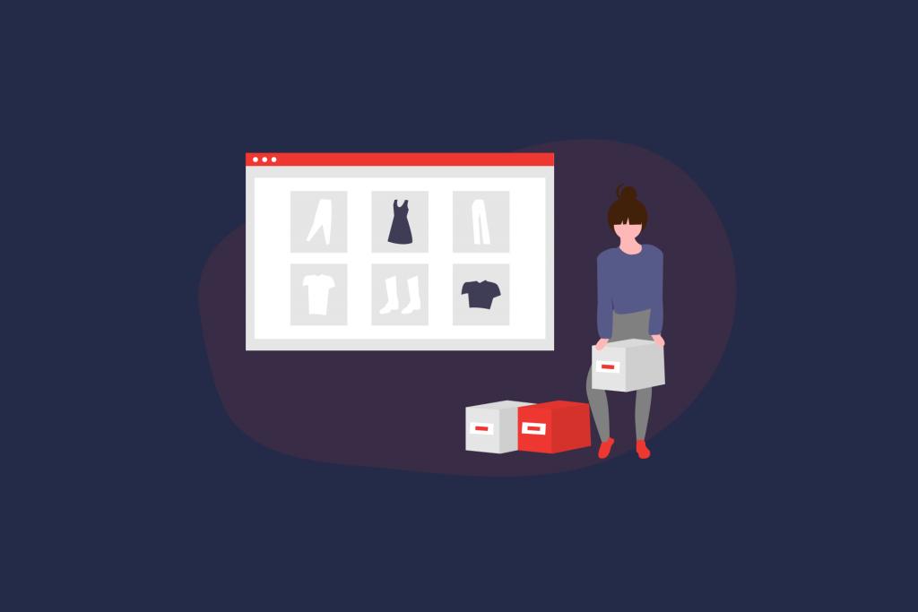 Illustration einer Frau die Kartons neben der Darstellung eines Onlineshops hebt. | eggheads.net