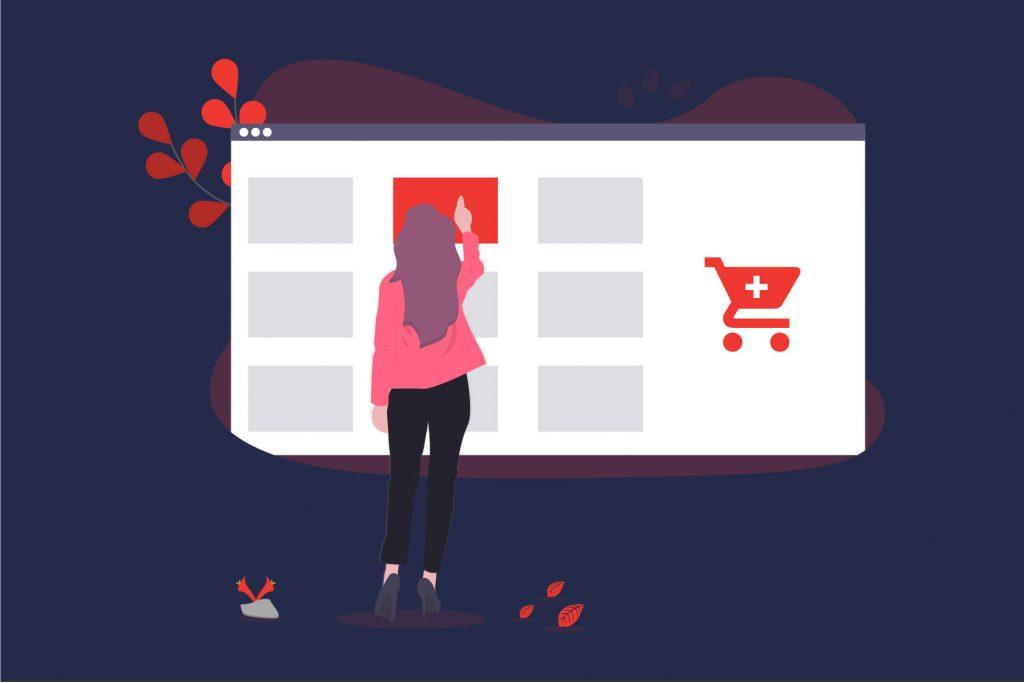 Illustration einer Frau die auf einen Screen klickt der einen Online-Shop darstellen soll. | eggheads.net