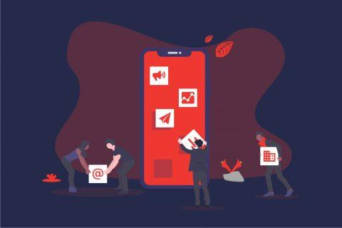 Illustration eines Smartphones das im Verhältnis kleinere Personen mit App-Icons befüllen. | eggheads.net