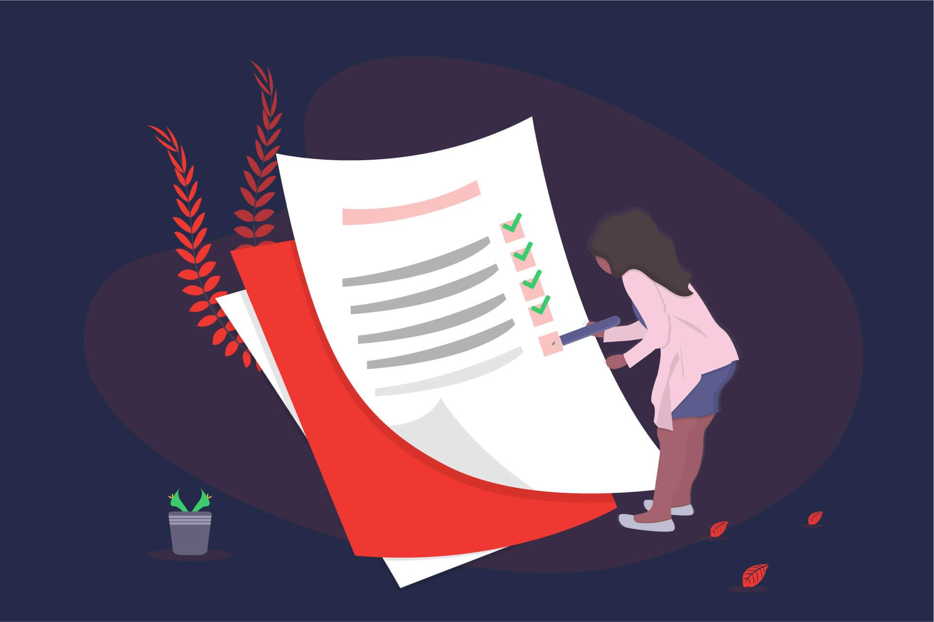 Illustration einer Frau die eine Checkliste abhackt. | eggheads.net