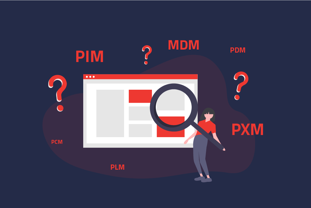 Illustration for confusing the terms PIM, MDM, PXM, and Co.   eggheads.net