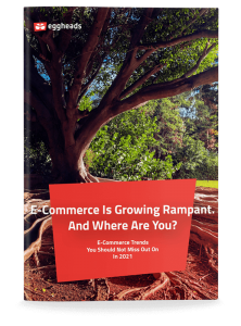 Cover page of the whitepaper E-Commerce Trends 2021 with a growing tree in the background.   eggheads.net