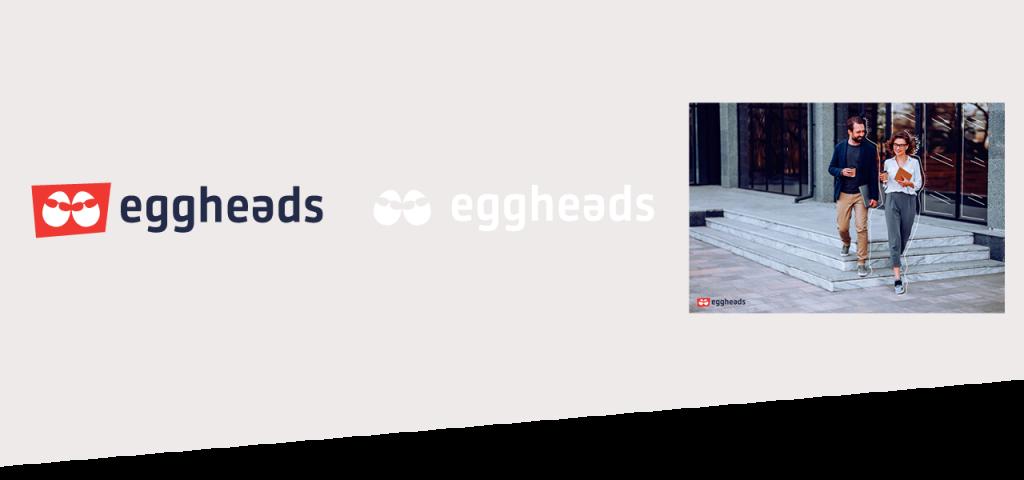 Darstellung des eggheads Logos in Farbe, des eggheads Logos in weiß und des Startseitenbildes | eggheads.net