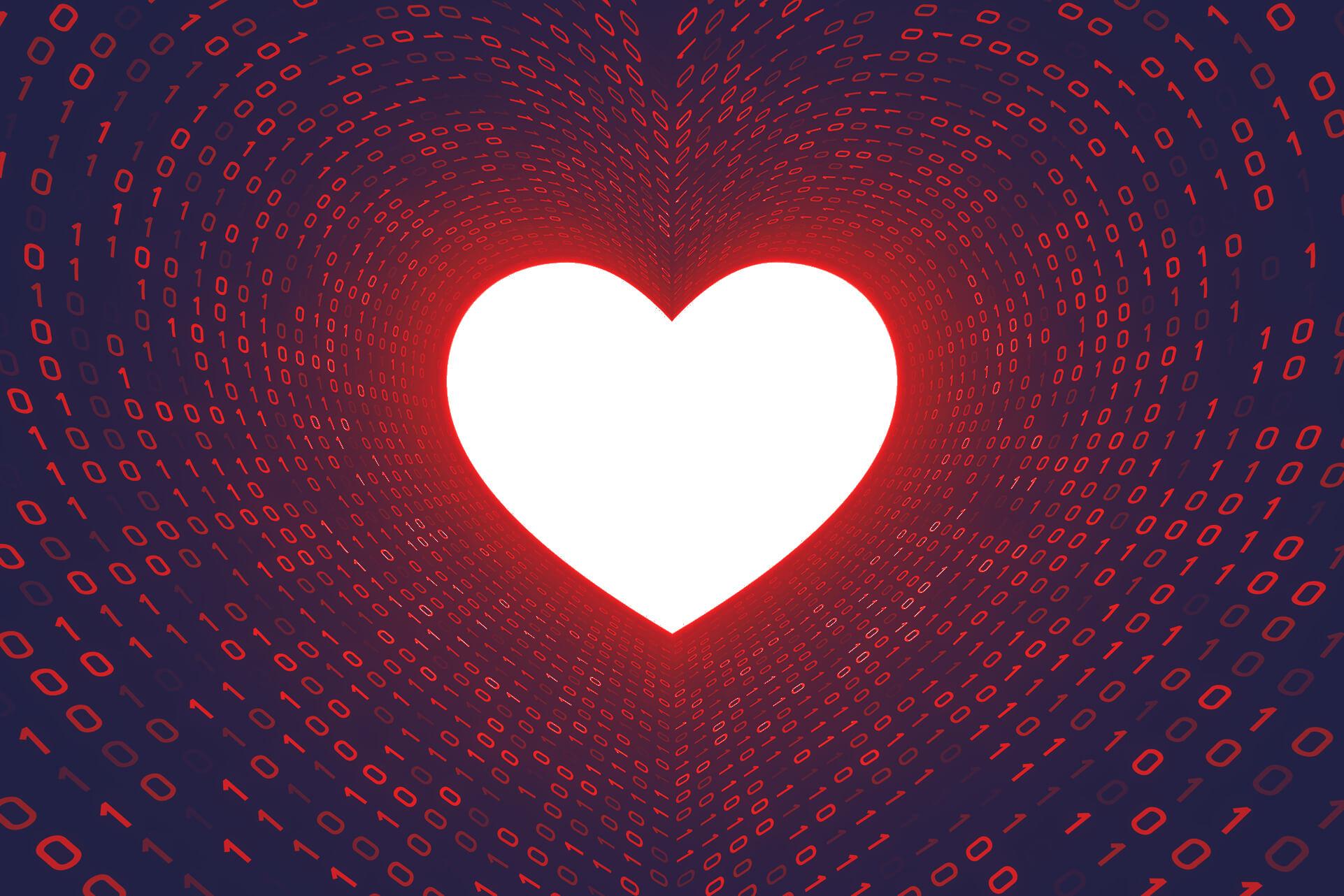 Ein weißes Herz umgeben von vielen Einsen und Nullen. | eggheads.net