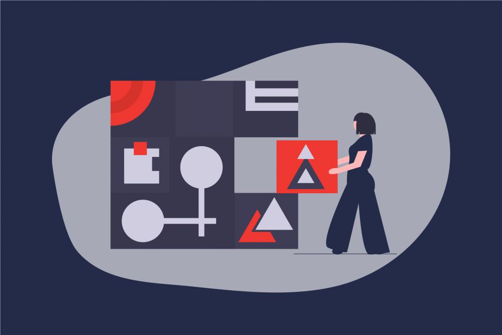Illustration einer Frau, die einen Baustein in eine Art Puzzel einfügt. | eggheads.net