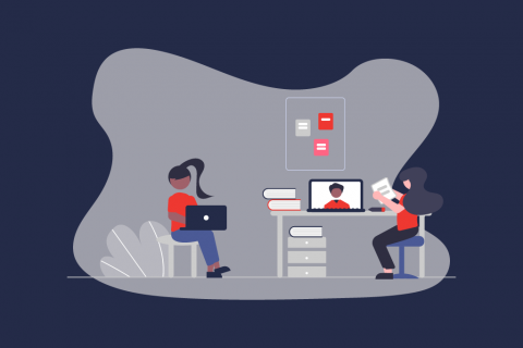 Illustration zweier Frauen bei der Arbeit während im Laptop-Display eine Online Session illustriert ist. | eggheads.net