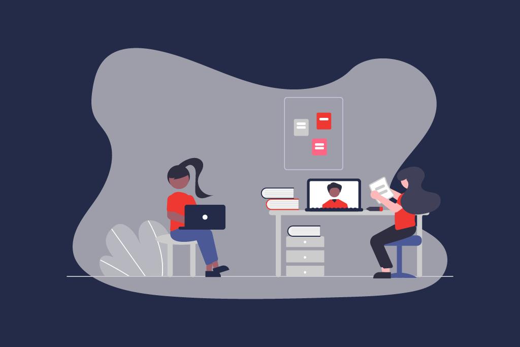 Illustration zweier Frauen bei der Arbeit während im Laptop-Display eine Online Session illustriert ist.   eggheads.net