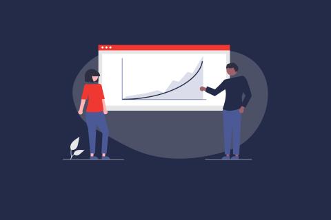 Illustration: 2 Personen vor einer Grafik mit ansteigender Kurve. | eggheads.net