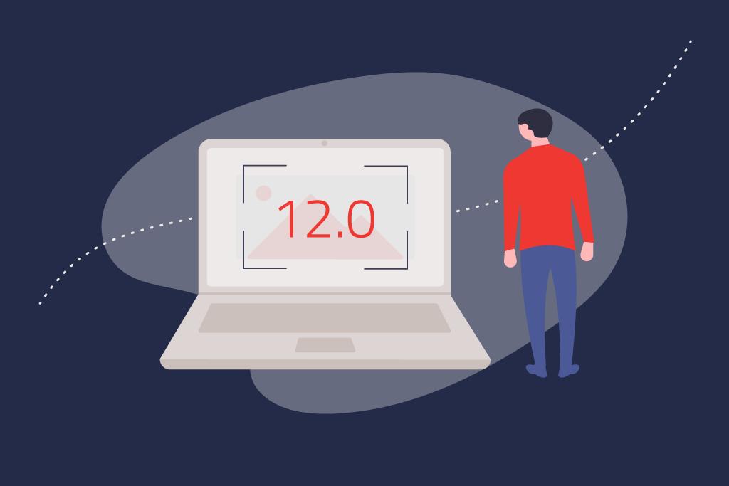 Illustration eines Mannes der neben einem Laptop steht auf den 12.0 geschrieben steht.   eggheads.net
