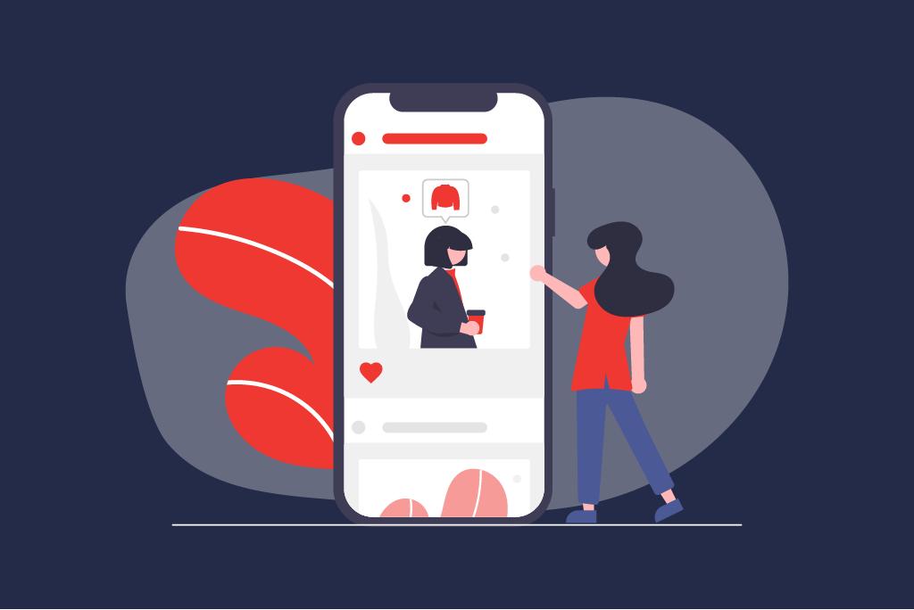 Illustration Social Commerde mit einem Smartphone und einer Frau die es bedient   eggheads.net